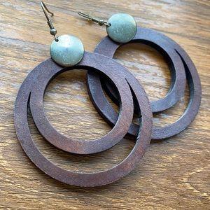 Brown Wooden Earring Set